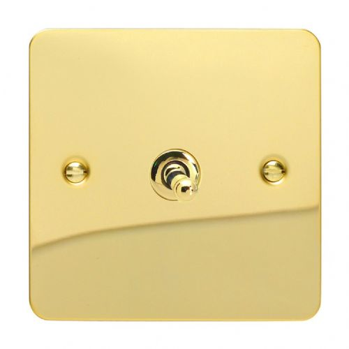 Varilight XFVT1 Ultraflat Polished Brass 1 Gang 10A 1 or 2 Way Toggle Light Switch